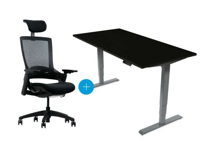 Desktopia Pro - Elektrisch höhenverstellbarer Schreibtisch mit Memory-Display Grau/Schwarz - Image Gallery Item 0